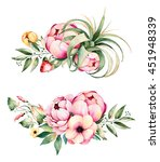 colorful floral collection with ... | Shutterstock . vector #451948339