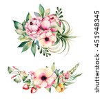 colorful floral collection with ... | Shutterstock . vector #451948345