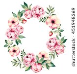 colorful floral wreath with... | Shutterstock . vector #451948369