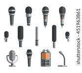 microphones and dictaphone flat ... | Shutterstock . vector #451963861