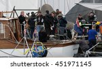 Small photo of Christopher Nolan,Mark Rylance Filming for the World War II action thriller Dunkirk by Urk Netherlands 12 July 2016