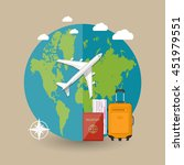 travel concept. world map ... | Shutterstock .eps vector #451979551