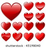 set of red shiny hearts... | Shutterstock . vector #45198040