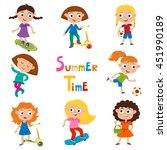 vector set of summer child's... | Shutterstock .eps vector #451990189