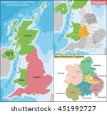 map of west midlands england | Shutterstock .eps vector #451992727