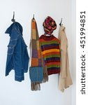 colorful clothing and bag on... | Shutterstock . vector #451994851