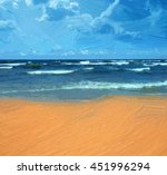 sea and beach. illustration in... | Shutterstock . vector #451996294