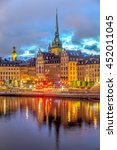 night shot of a stockholm's...   Shutterstock . vector #452011045