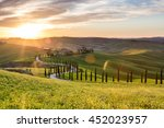 picturesque sunset in tuscany ... | Shutterstock . vector #452023957
