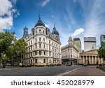 buildings and cathedral near... | Shutterstock . vector #452028979
