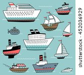 set of illustrations with ships ... | Shutterstock .eps vector #452036929