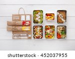 healthy food delivery. take... | Shutterstock . vector #452037955