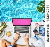 female hands typing macbook... | Shutterstock . vector #452042794