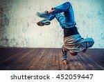 Young Man Break Dancing On Wall ...