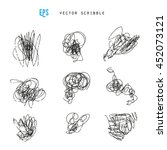 set of vector scribbles.... | Shutterstock .eps vector #452073121