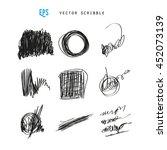 set of vector scribbles.... | Shutterstock .eps vector #452073139