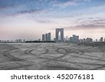 empty asphalt floor with city... | Shutterstock . vector #452076181