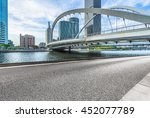 empty floor and city skyline... | Shutterstock . vector #452077789