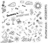 summer adventure. sketch icons. ... | Shutterstock .eps vector #452085991