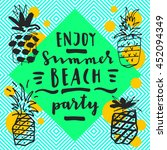 enjoy summer beach party.... | Shutterstock .eps vector #452094349