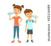 Happy children drinking water. Kids drink water | Shutterstock vector #452116489