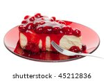 Piece of cherry cheese cake isolated on white background - stock photo