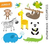 cute jungle animal set. cute... | Shutterstock . vector #452149111