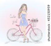 beautiful  cute girl stands...   Shutterstock .eps vector #452150959