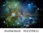 smart city night view and... | Shutterstock . vector #452153611