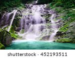 majestic moss covered waterfall ... | Shutterstock . vector #452193511