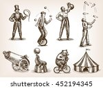 retro circus performance set... | Shutterstock . vector #452194345