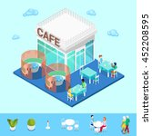 isometric city cafe with tables ... | Shutterstock .eps vector #452208595
