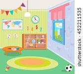 kindergarten room interior with ... | Shutterstock .eps vector #452211535