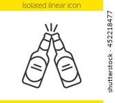 toasting beer bottles linear... | Shutterstock .eps vector #452218477