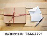 single craft box on the wooden... | Shutterstock . vector #452218909