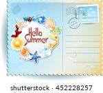 Summer Postcard With Colorful...