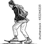schoolboy rides on a skateboard | Shutterstock .eps vector #452244235