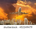 airplane flying take off from... | Shutterstock . vector #452249479
