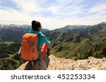 successful woman backpacker... | Shutterstock . vector #452253334