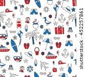 vacation doodles seamless... | Shutterstock .eps vector #452257861