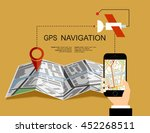 hand holding mobile with gps... | Shutterstock .eps vector #452268511
