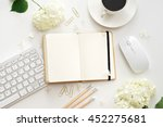 flat lay image of workplace  | Shutterstock . vector #452275681