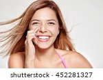 young attractive girl smiles... | Shutterstock . vector #452281327