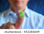 Stock photo currency sign concept background businessman touching currency sign yena series currency sign 452283649