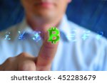 Stock photo currency sign concept background businessman touching currency sign bitkoin series currency sign 452283679