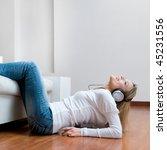 young girl listening relaxing... | Shutterstock . vector #45231556