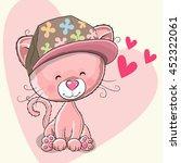 cute pink kitten with a cap on... | Shutterstock . vector #452322061