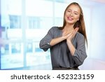 young business woman... | Shutterstock . vector #452323159