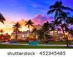 miami beach south beach sunset... | Shutterstock . vector #452345485