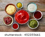 bowls of various dip sauces ... | Shutterstock . vector #452355661
